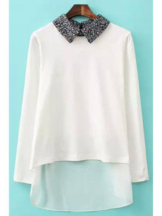 ladies Tiny Floral Polo Collar Long Sleeve Shirt - WHITE S