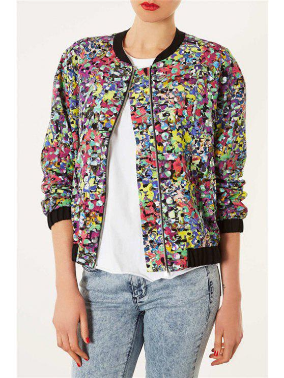 trendy Color Block Printed Long Sleeve Coat - AS THE PICTURE S