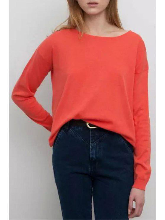 affordable Scoop Neck High Low Solid Color Sweater - PINK ONE SIZE(FIT SIZE XS TO M)