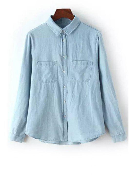 women Polo Collar Denim Pocket Long Sleeve Shirt - BLUE S