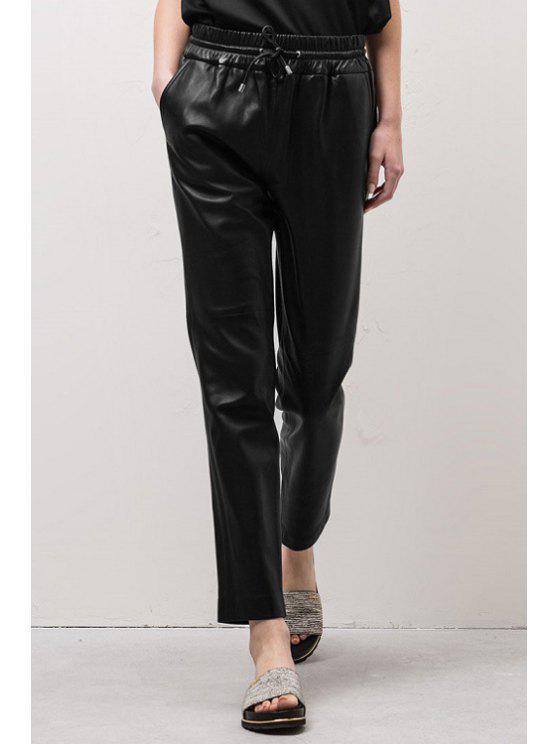 sale Tie-Up PU Leather Pants - BLACK S