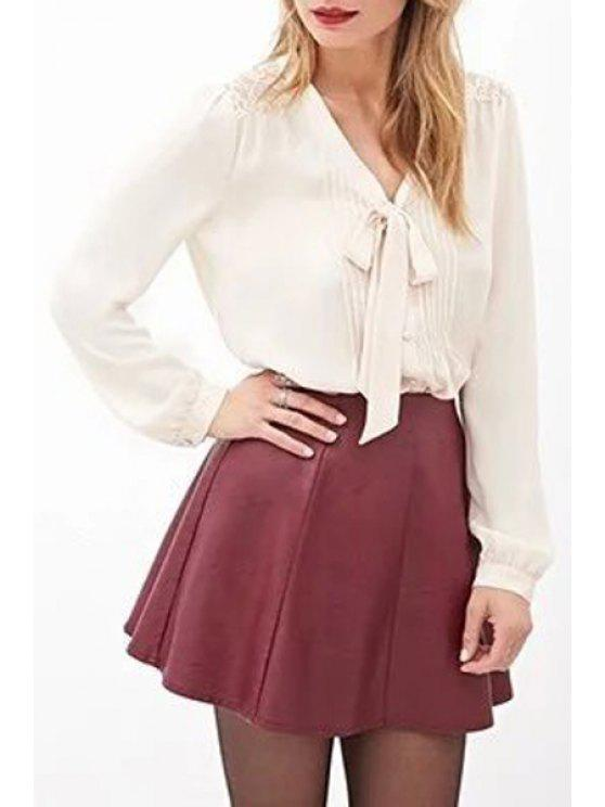 women V Neck Back Lace See-Through Shirt - WHITE S