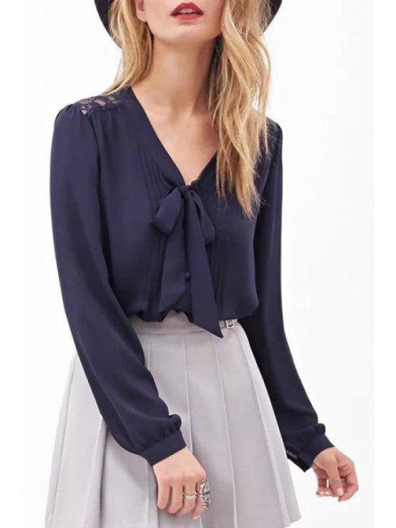 V neck back lace see through shirt purplish blue blouses for V neck back shirt