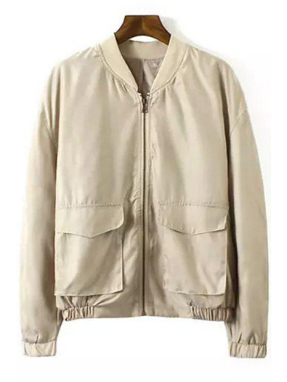 outfits Back Eagle Pattern Long Sleeve Jacket - KHAKI S