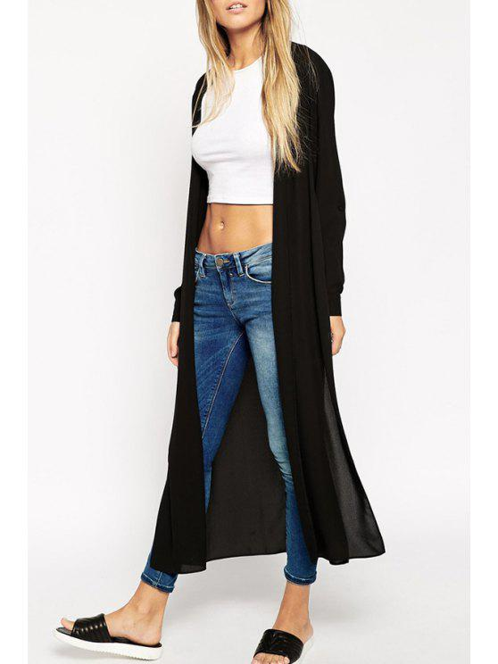 shops Black Side Slit Long Chiffon Blouse - BLACK S