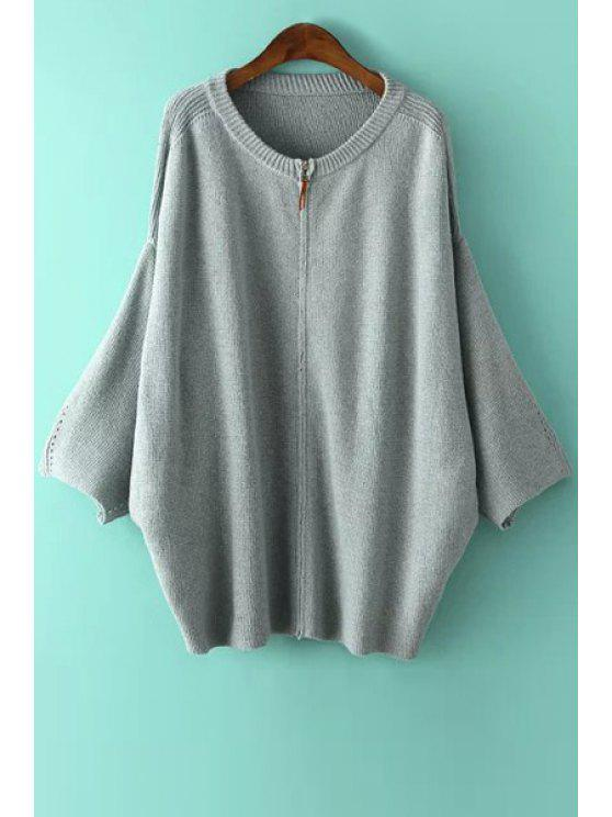 trendy Zipper Fly Solid Color Long Sleeve Cardigan - GRAY ONE SIZE(FIT SIZE XS TO M)