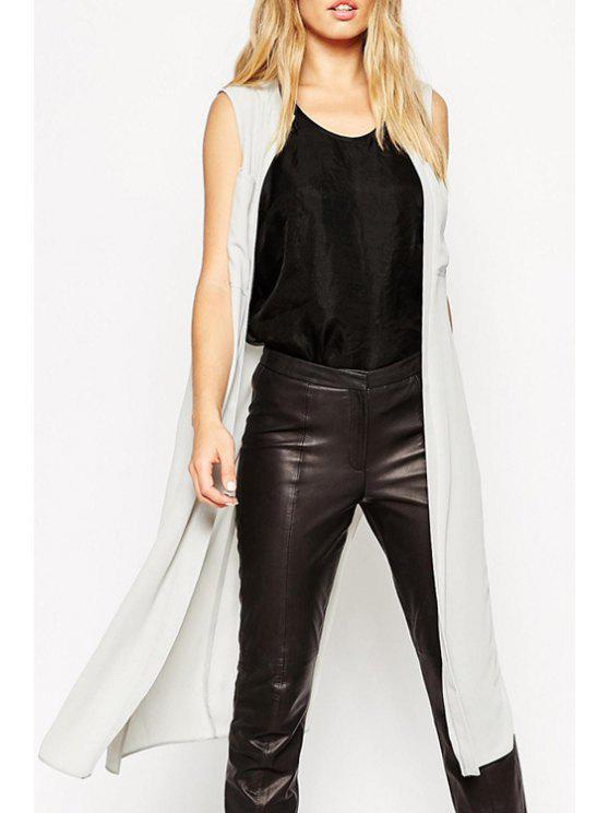 sale Sleeveless Solid Color Pocket Design Blouse - WHITE S