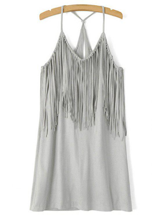 ladies Spaghetti Strap Fringe Splicing Faux Suede Dress - GRAY S
