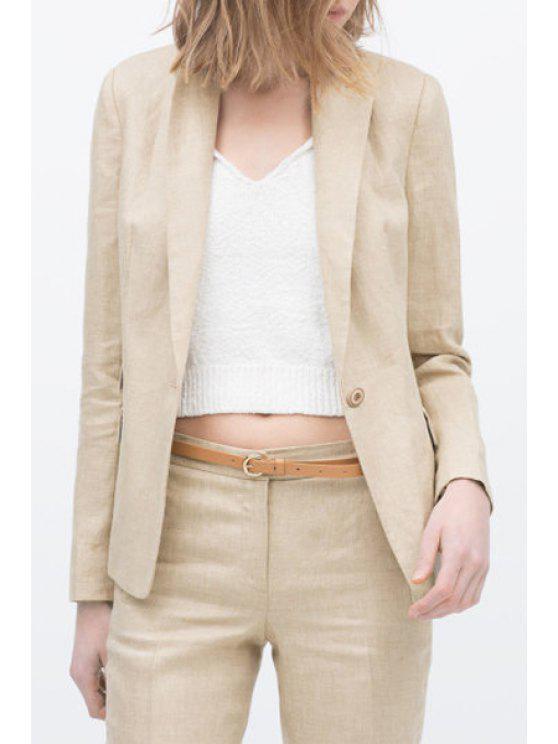 online Lapel Solid Color One Button Long Sleeve Blazer - BEIGE S