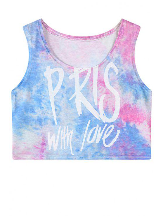 outfits Tie Dye Print Sleeveless Crop Top - BLUE ONE SIZE(FIT SIZE XS TO M)