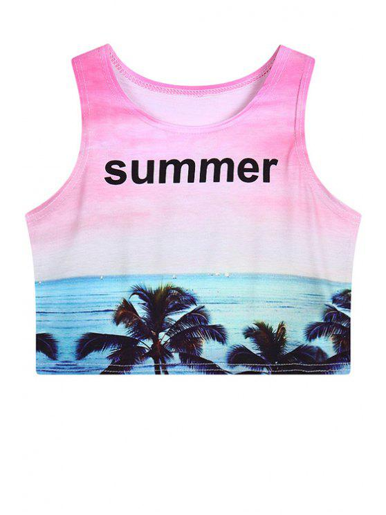 latest See Print Sleeveless Crop Top - PINK ONE SIZE(FIT SIZE XS TO M)