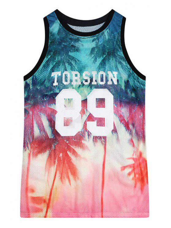 fashion Coconut Palm Print Jewel Neck Tank Top - COLORMIX ONE SIZE(FIT SIZE XS TO M)