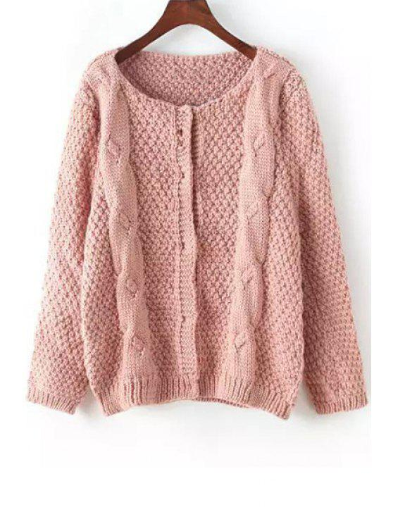 outfit Scoop Neck Plait Pattern Solid Color Cardigan - PINK ONE SIZE(FIT SIZE XS TO M)