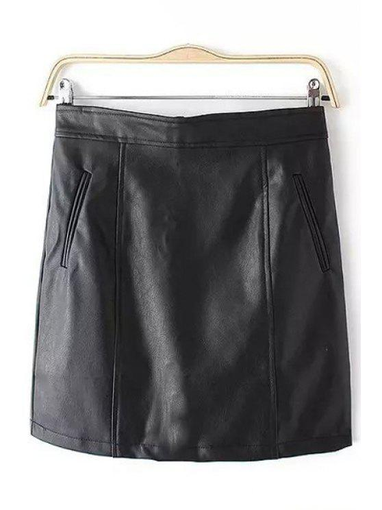 womens PU Leather Pocket Zipper Fly Skirt - BLACK S