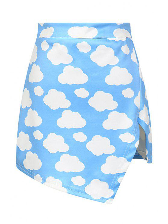 lady Full Cloud Print High Waisted Skirt - BLUE ONE SIZE(FIT SIZE XS TO M)