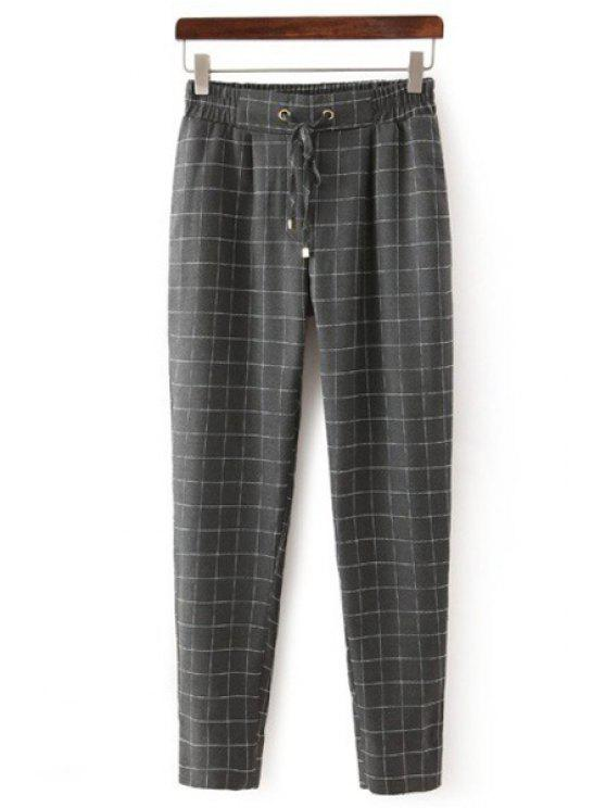 shop Plaid Tie-Up Pants - GRAY S