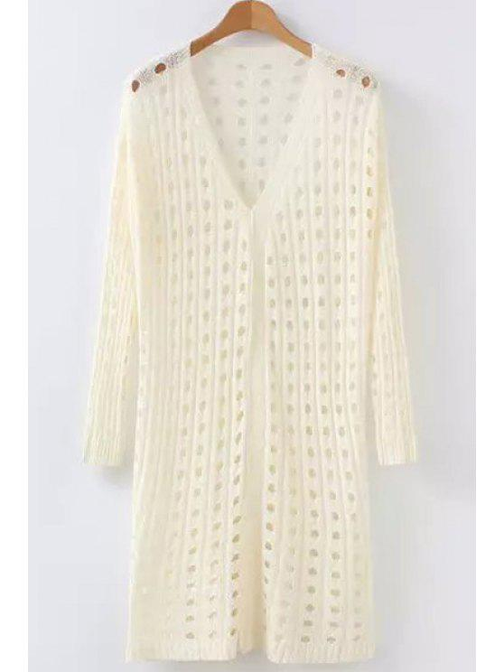 trendy Polka Dot Openwork Long Sleeve Cardigan - OFF-WHITE ONE SIZE(FIT SIZE XS TO M)