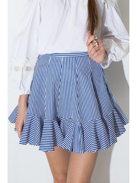new High-Waisted Striped Flouncing Mini Skirt - BLUE AND WHITE 2XL