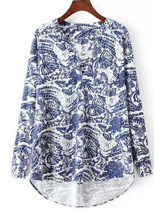 womens Blue Floral Print Long Sleeve Shirt - BLUE AND WHITE L