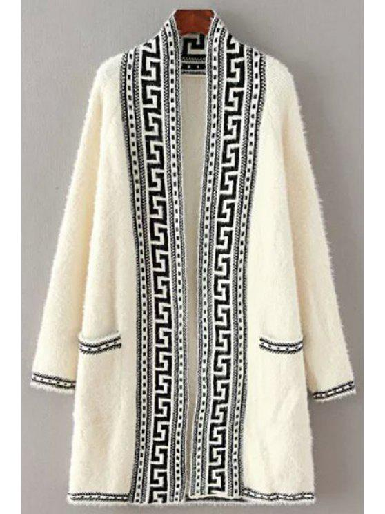 fashion Black Stripe Pattern Long Sleeve Cardigan - WHITE ONE SIZE(FIT SIZE XS TO M)
