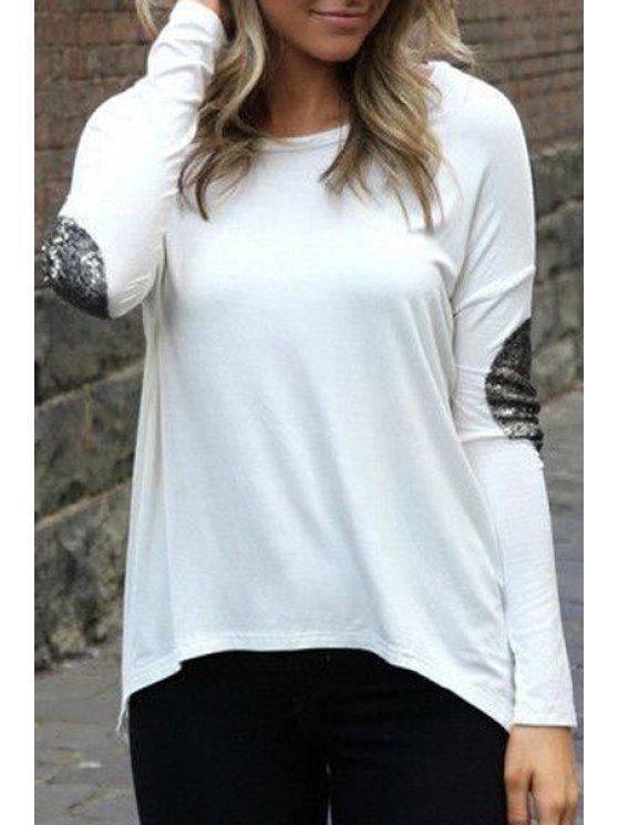 fancy Glitter Sleeve Spliced Irregular Hem T-Shirt - WHITE M