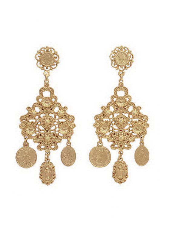 trendy Pair of Golden Pendant Earrings - GOLDEN