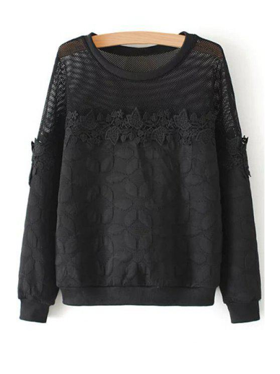 fancy See-Through Lace Splicing Long Sleeve Sweatshirt - BLACK S