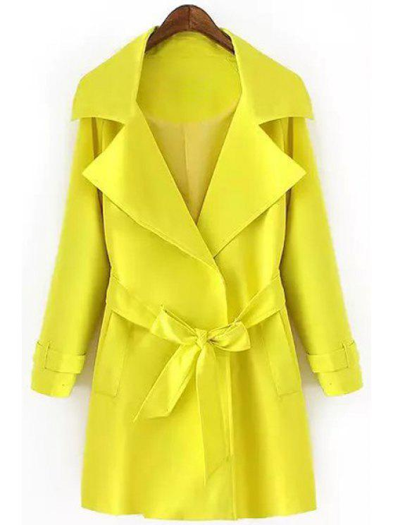 outfits Turn-Down Collar Belt Solid Color Trench Coat - YELLOW M