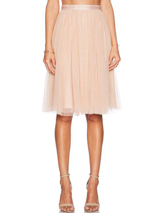 trendy High-Waisted Solid Color Voile Skirt - PINK XL