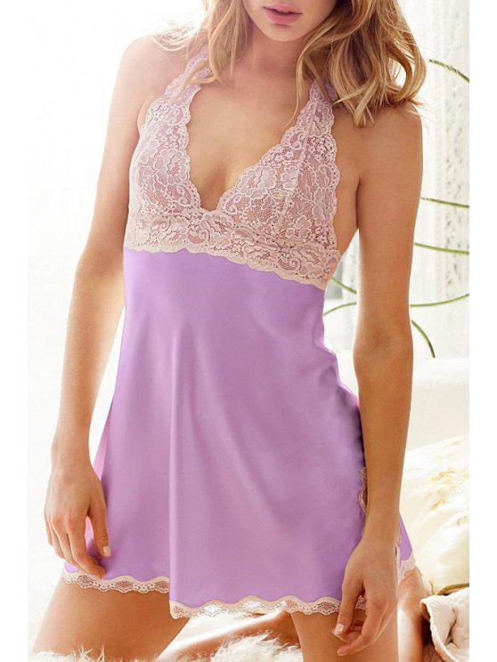sale Lace Splicing Halterneck Babydoll - PURPLE ONE SIZE(FIT SIZE XS TO M)