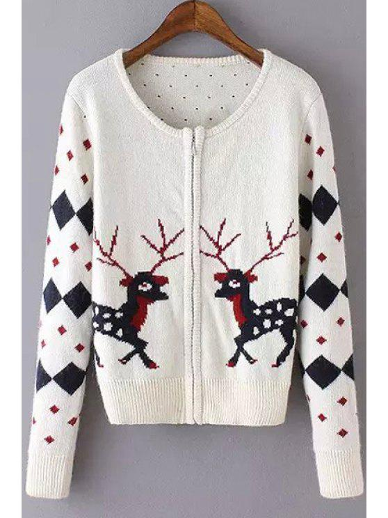 fancy Scoop Neck Argyle Deer Pattern Cardigan - WHITE S