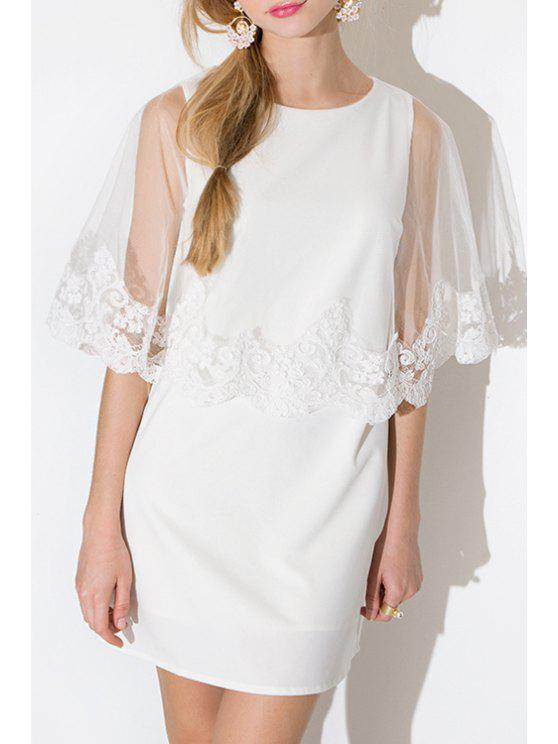 fashion Voile and Lace Splicing White Shift Dress - WHITE L