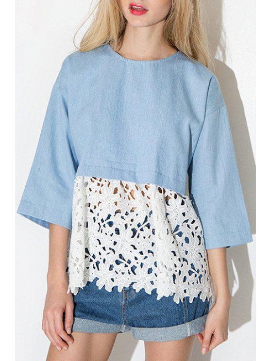 shop 3/4 Sleeve Lace Spliced Hollow Blouse - BLUE S