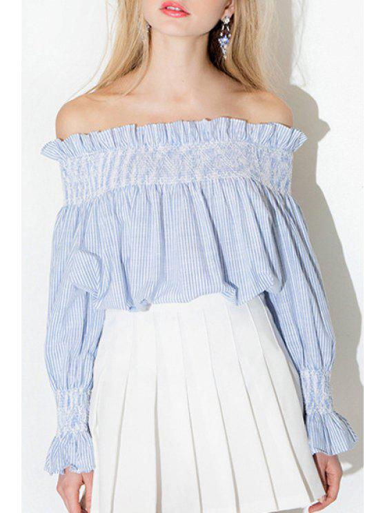 chic Slash Neck Long Sleeve Flouncing Blouse - BLUE AND WHITE S