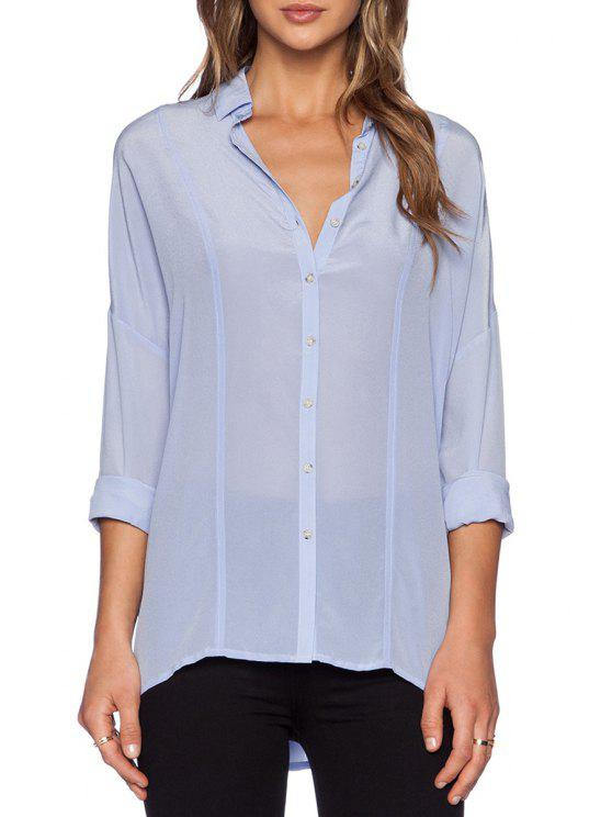 hot Pure Color Turn Down Collar Long Sleeve Shirt - LIGHT BLUE S