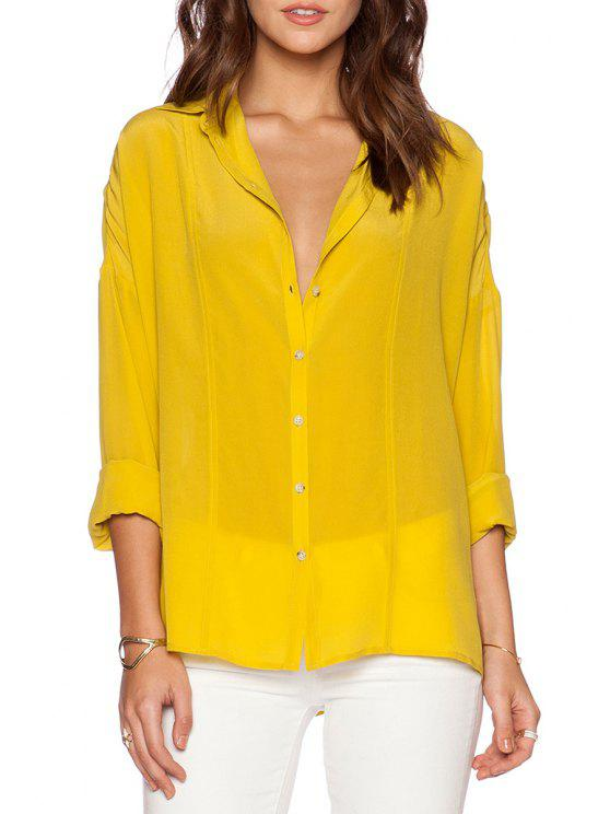 latest Pure Color Turn Down Collar Long Sleeve Shirt - YELLOW S
