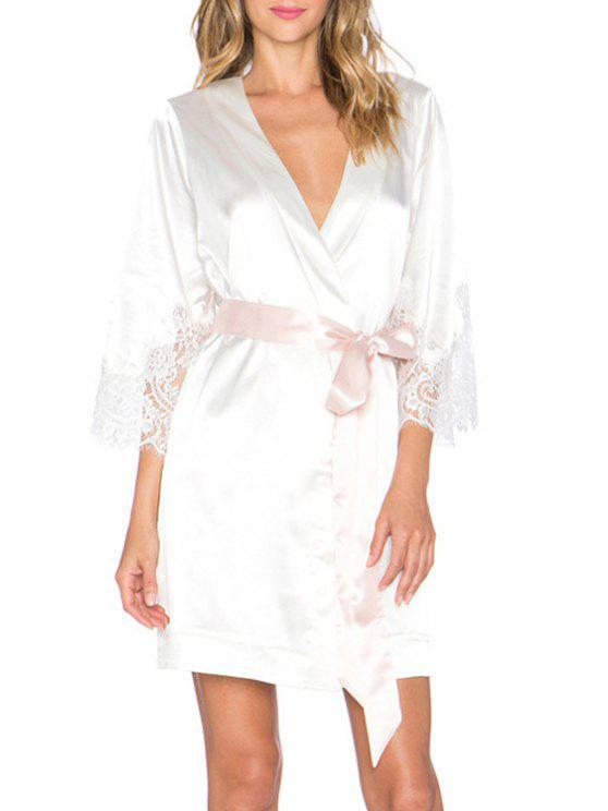 outfit White Plunging Neck 3/4 Sleeve Dress - WHITE XL