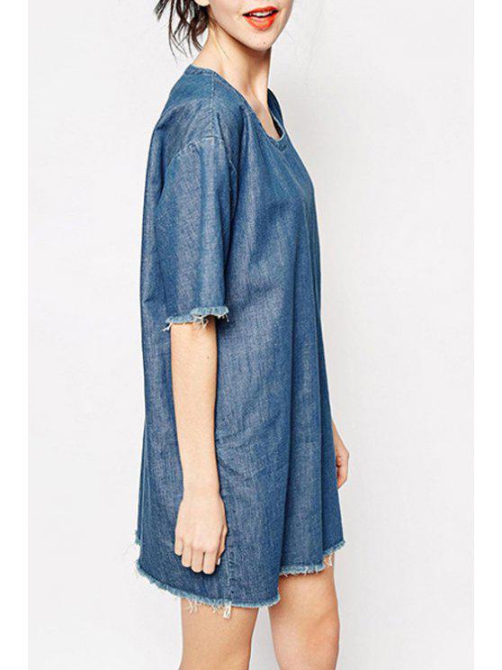 affordable Solid Color Denim Half Sleeve Dress - BLUE S