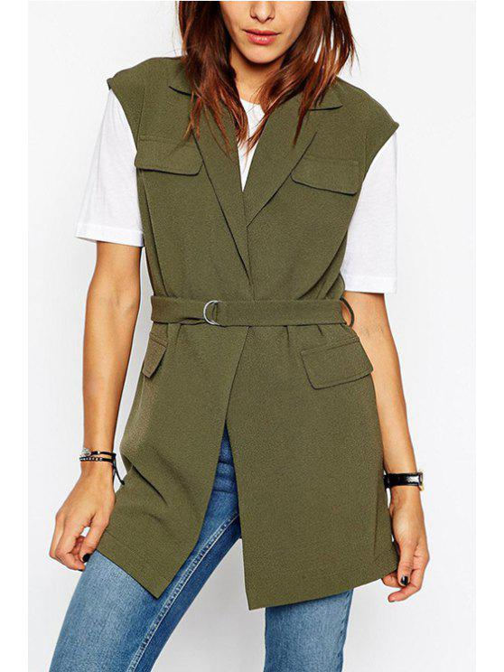 trendy Army Green Lapel Sleeveless Coat - ARMY GREEN 2XL