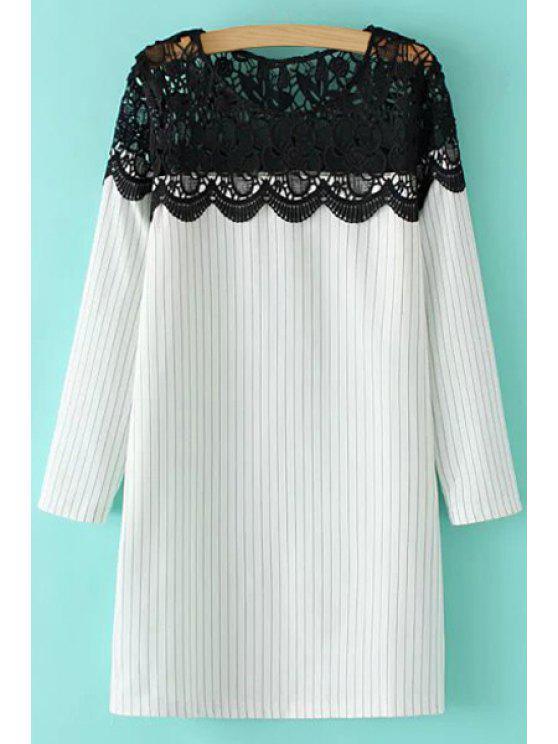 trendy Black Lace Splicing Stripe Long Sleeve Dress - WHITE S
