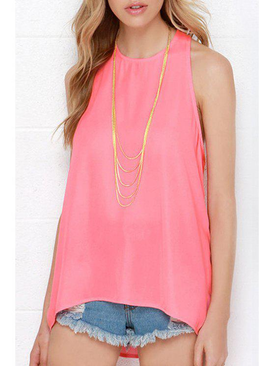 women Rose Chiffon Round Neck Tank Top - ROSE S