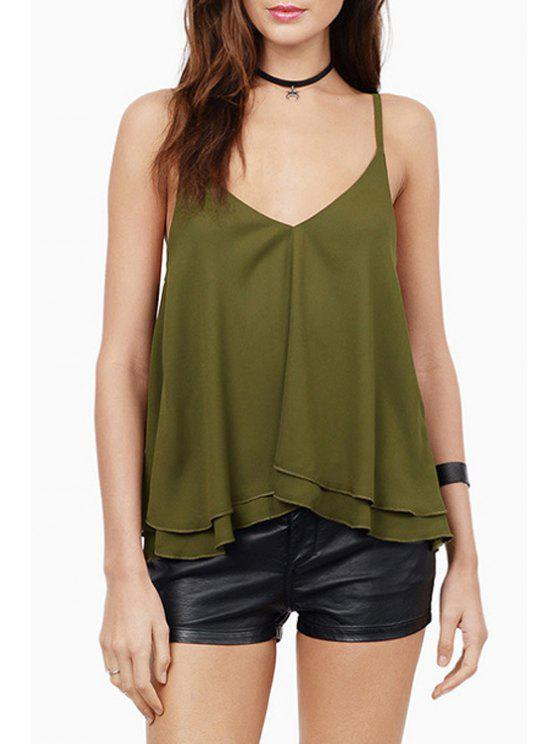 women's Solid Color Cami Chiffon Tank Top - OLIVE GREEN L