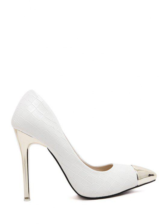 shop Splicing Snake Print Pointed Toe Pumps - WHITE 34