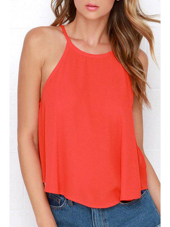 hot Solid Color Cami Hollow Tank Top - JACINTH S