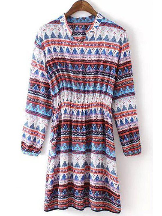 sale Colorful Triangle Print Long Sleeve Dress - COLORMIX S
