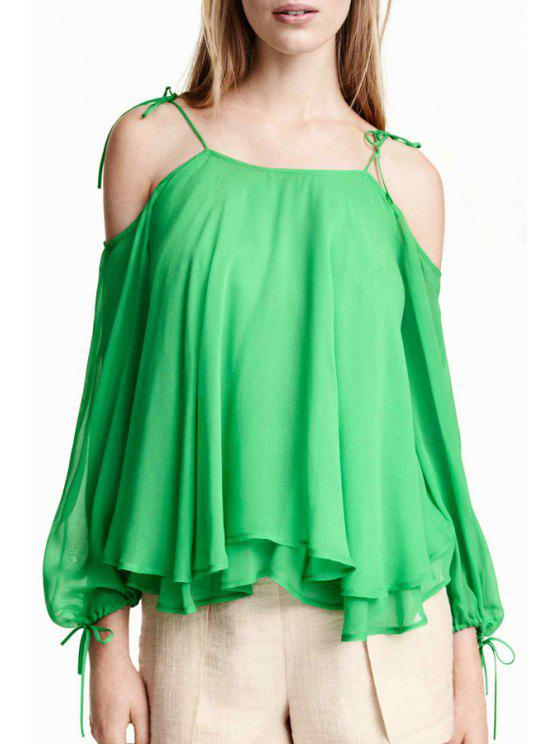 women's Off-The-Shoulder Layered Chffon Blouse - GREEN S