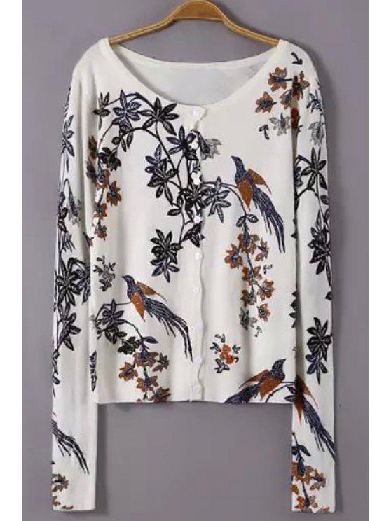 women Scoop Neck Floral Bird Pattern Cardigan - WHITE S