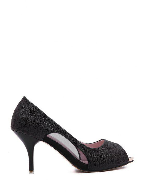 womens Solid Color Splicing Peep Toe Shoes - BLACK 34
