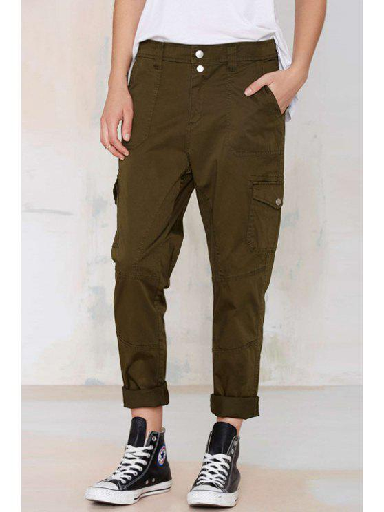 chic Army Green Straight Leg Pants - ARMY GREEN XL