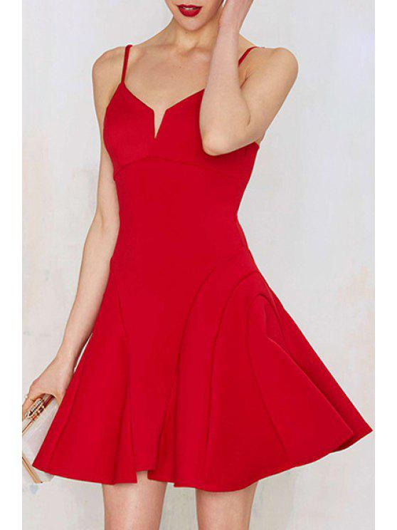 ladies Deep V Neck Backless Red Prom Dress - RED XL